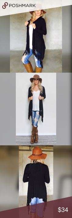 The Perfect Fringe Cardigan Every girl needs one asap. This will be your go to cardigan all Winter  Extra soft, light weight material, long sleeve, runs true to size. For reference model is wearing a Small. 5'9 34chest /26waist /34hips Bohemian Sea Sweaters Cardigans