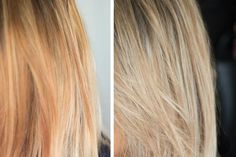 before-and-after-hair-toner-2 Toning Bleached Hair, Toning Blonde Hair, Blonde Hair At Home, Bleach Blonde Hair, Wella Hair Toner, Diy Hair Toner, Brassy Blonde, Brassy Hair, Toner Für Blondes Haar