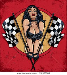 http://thumb9.shutterstock.com/display_pic_with_logo/202867/112308566/stock-vector-racing-pinup-holding-checkered-flags-vector-illustration-of-a-sexy-pinup-girl-in-a-leather-bikini-112308566.jpg