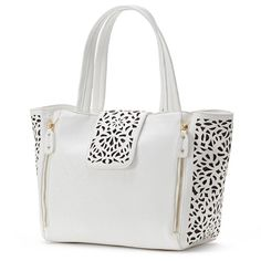 Mellow World Sophie Perforated Tote (White) ($80) ❤ liked on Polyvore featuring bags, handbags, tote bags, white, white purse, faux leather handbags, faux leather tote, zip tote bag and zip tote