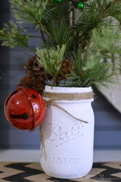 Such an easy and inexpensive DIY christmas decor piece. Full tutorial on OurThriftyIdeas.com