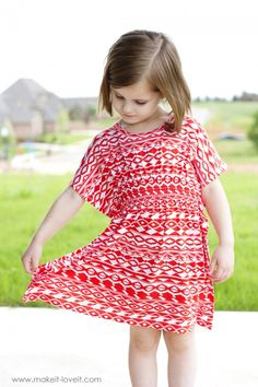 The 45 minute Butterfly Sleeve Tunic Dress Sewing Kids Clothes, Sewing For Kids, Baby Sewing, Diy Clothes, Kids Clothing, Clothing Ideas, Kids Patterns, Dress Patterns, Sewing Patterns Girls