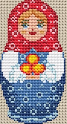 Red & Blue Russian Doll Cross Stitch. Stitch Count : 43 x 81. | eBay!