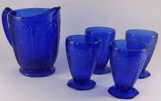 Vintage Reproduction Cobalt Blue Depression Glass Pitcher and 4 glasses