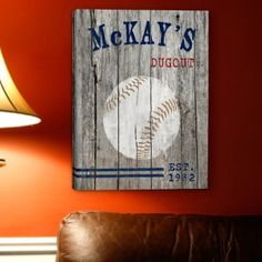 "I like the idea of this saying ""Kazden's Dugout"" Baseball Wall Art"