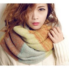 Multi-Colored Blue Green Orange Two-Layer Thick Open-Knit Infinity Scarf - Scarves - Accessories - Women's Style Free Shipping