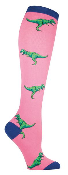 5a1ed7b3f T-Rex may have short arms, but she's got some nice legs. Knee high socks  with Tyrannosaurus Rex in blue or pink backgrounds. Fits a women's US shoe  size