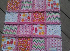 Rag Quilt for baby girl w/ Owls <3
