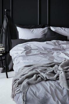 Cotton chambray duvet set - Light grey - Home All | H&M GB 1