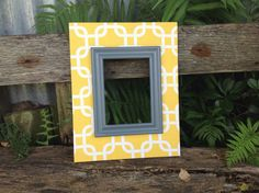 Fabric Covered Picture Frame Wood Frame Yellow by TheRedWoodBarn