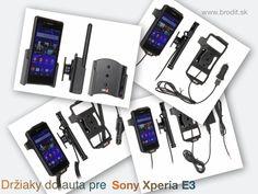 Nové držiaky do auta pre Sony Xperia E3. Pasívny držiak Brodit pre pevnú montáž v aute, aktívny s CL nabíjačkou, s USB alebo s Molex konektorom.