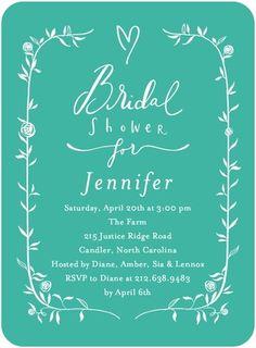 Signature White Bridal Shower Invitations Bridal Bower - Front : Green
