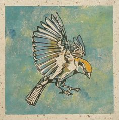 Incoming Sparrow, linocut print