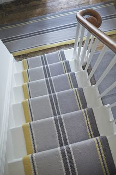 Best Carpet Runners For Stairs Yellow Carpet, White Carpet, Carpet Colors, Brown Carpet, Painted Staircases, Painted Stairs, Hallway Carpet Runners, Carpet Stairs, Stair Runners