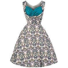 Lindy Bop 'Ophelia' Vintage 50's Majestic Floral Crown Print Swing... ($62) ❤ liked on Polyvore