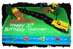 Tonka Themed Birthday Cake For A 3 Year Old Little Boy Cakes