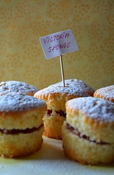 Mary Berry's Recipe, Victoria Sponge Cakes, she made tiny ones filled with raspberry jam and coated with dusting sugar