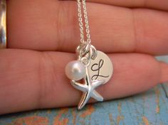 Beachy Solid Sterling Silver Starfish Pearl by EverythingInitials, $31.00