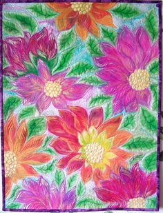 Art quilt, wall hanging. Flowers are painted over batik background following the design that original piece of batik is suggesting. Machine quilted