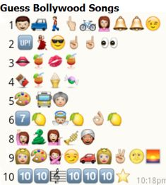 List of Whatsapp Puzzles - collection of more than 100 whatsapp emoticons guess the name games with solution. Smiley games for songs, city names, movies, brands names etc. Emoji Quiz, Emoji Games, Hindi Movie Song, Movie Songs, Emoji Answers, Friends Emoji, Emoji Puzzle, Guess The Emoji, Kitty Party Themes