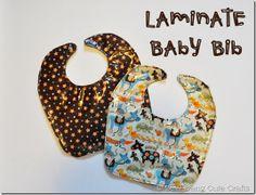 Laminate bib pattern.  http://www.sewdangcutecrafts.com/2012/02/laminate-baby-bib-tutorial-riley-blake.html