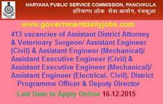 HPSC RECRUITMENT 2015 – 413 ASST DISTRICT ATTORNEY, VETERINARY SURGEON & OTHER POSTS ~ Government Daily Jobs
