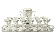 d4433c678639 SOLD - American Sterling Silver Cocktail Set by Tiffany   Co - Art Deco  Style - Antique