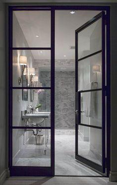 New office glass door design master bath 30 ideas The Doors, Windows And Doors, Steel Windows, Entry Doors, Sliding Doors, Entrance, Bad Inspiration, Bathroom Inspiration, Bathroom Ideas