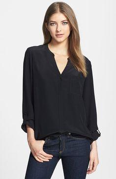 classic black silk top