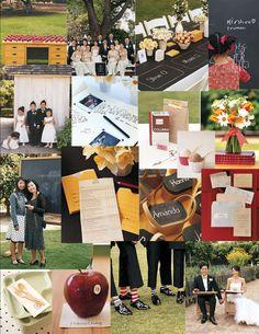 school theme wedding idea board