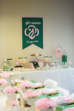 Partyscape from Glam Girl Scout Mother Daughter Luncheon at Kara's Party Ideas. See more at karaspartyideas.com!