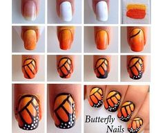 Monarch Butterfly Nail Art Design