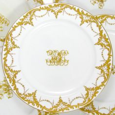 Antique Minton for Ovington English Porcelain Raised Gold Dinner Plates Set