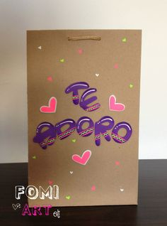 Bolsa decorada con mensaje en Fomi Favor Bags, Gift Bags, Baby Art, Party Bags, Diy Paper, Craft Gifts, Diy And Crafts, Gift Wrapping, Scrapbook