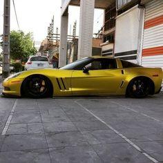 Slammed matte gold Corvette