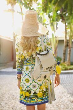 Atlantic-Pacific: lemons & sunshine Dolce & Gabanna dress, Gucci backpack