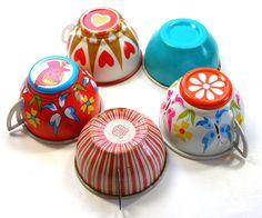 Tin cups.