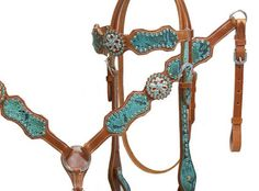 Teal snake print headstall and breast collar set with crystal rhinestones- Teal snake headstall and breast collar set with crystal rhinestones