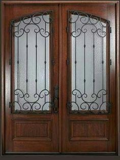 Glasscraft door co hardwood wrought iron 8 0 square top arch lite double entry doors with wrought iron grilles mahogany wood doors planetlyrics Gallery