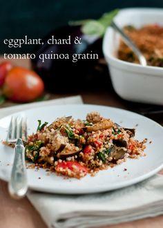 Eggplant, Chard and Tomato Quinoa Gratin