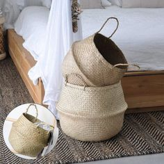 Jason's Brothers Foldable Seagrass Belly Basket with Handles for Storage, Nursery Laundry Tote Beach Bag Plant Pots Cover Indoor Decorative Belly Basket, Wicker Planter, Nursery Storage, Home Decor Quotes, Potted Plants, Plant Pots, Beach Tote Bags, Nature Crafts, Herringbone Pattern