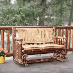 This genuine Amish pine log glider will make a perfect addition to your rustic deck or porch.  Made in America and shipped free to 48 states.  #amish #pine #log #glider