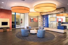 Fusion Projects Inc. - Build Projects G Financial Group - Welcoming & Bright reception with Citrus colours Office Reception Area, Reception Areas, Bright, Colours, Group, Building, Projects, Home, Log Projects