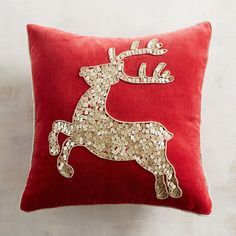 Our leaping stag on a plush velvet Christmas pillow is created with sequins and beads to energize your decor this holiday season. Christmas Cushions, Christmas Pillow, Christmas Stockings, Christmas Diy, Christmas Ornaments, Silver Christmas Decorations, Reindeer Decorations, Christmas Crafts Sewing, Baby Patchwork Quilt
