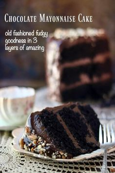 So rich and fudgey! This chocolate mayonnaise cake recipe is full of old fashioned goodness. 3 layers of moist cake with a creamy chocolate icing between each layer and over the top. Perfect for birthdays! RestlessChipotle.com