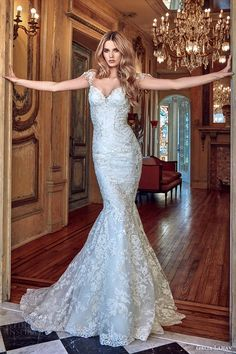 galia lahav bridal spring 2017 cap sleeves sweetheart mermaid lace wedding dress (desiree) mv