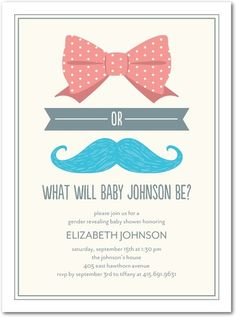 Super cute invite for a gender reveal shower! Love the idea of including a pin of each for the guests to wear with their guess!