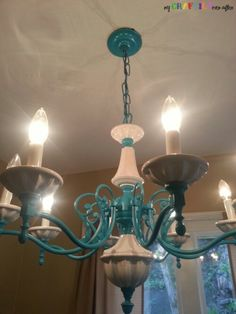 Spray Painted Chandelier - My Craftily Ever After....spray paint a medallion