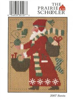 2007 Yearly Santa Knitting Prairie Schooler Cross Stitch Pattern for sale online Santa Cross Stitch, Cross Stitch Love, Cross Stitch Alphabet, Counted Cross Stitch Patterns, Cross Stitch Charts, Cross Stitch Designs, Cross Stitch Embroidery, Hardanger Embroidery, Theme Noel