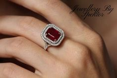 Ruby and Diamond Cocktail Ring, Ruby Engagement ring   Etsy #rubydiamondring #cocktailring #rubyengagementring #weddingjewelry